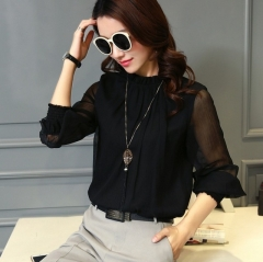 Summer Lace Chiffon Shirt Plus Size Blouse Fashion Stand Neck Shirts Transparent Long Sleeve Blouses black s