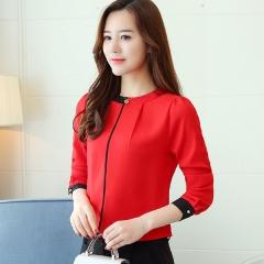 Blouse shirt New Autumn long sleeved chiffon blouse Elegant Slim Office lady shirt Fashion red s