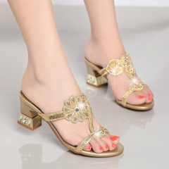 Summer Shoes New Ladies Chunky Heel 6.5 CM Sexy Crystal Rhinestone Design Women Shoes gold 35