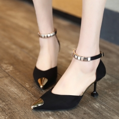 2017 New High Heels Women Bright Metal Pointed Toe Ladies Sandals Fashion Suede Wedding Shoes black 35