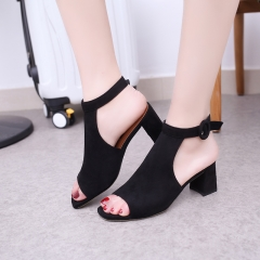2017 Peep Toe Shoes Women Square Heels Sandals with Buckle Strap Ladies Sandals black 35