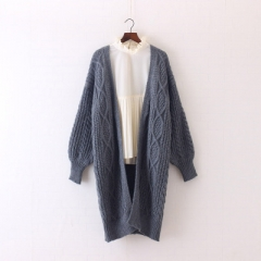 2017 Women Long Cardigans Winter Open Poncho Knitting Sweater Cardigans V neck Oversized Jacket Coat grey one size