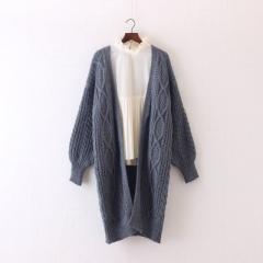 2017 Women Long Cardigans Winter Open Poncho Knitting Sweater Cardigans V neck Oversized Jacket Coat grey one size