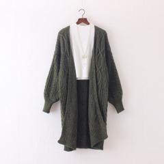 2017 Women Long Cardigans Winter Open Poncho Knitting Sweater Cardigans V neck Oversized Jacket Coat army green one size