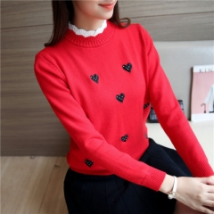 Autumn Pullover Short Knitted Tops Women Korean Lace Collar Sweater Lady Embroidery Temperament Slim red one size