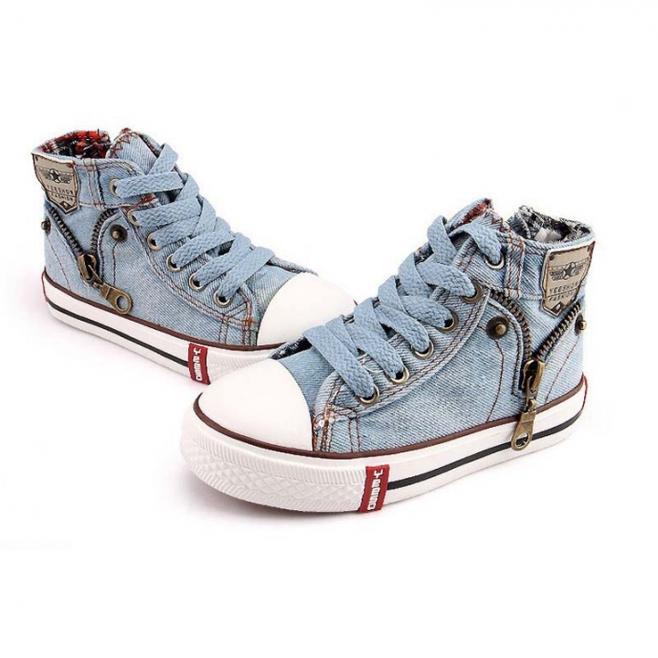 2017 Canvas Children Shoes Sport Breathable Boys Sneakers Brand Kids Shoes for Girls Jeans Denim sky blue 30