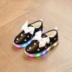 2017 Big Bowknot Children Cartoon Light Leisure Sports Shoes Girls Sneakers Kids LED Light Shoes black 21