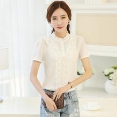 2017 Casual Lace Elegant OL Blouse Slim Short Sleeve O-neck Work Wear Blusas Tops Shirts white s