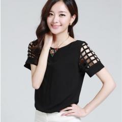 2017 Summer Hot Fashion Women shirt Casual Plus Size Slim Hollow Short sleeve Chiffon Blouse Blusas black s