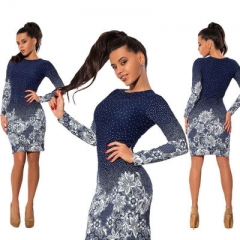 Hot O Neck Polka Dot Floral Print Pencil Dress Long Sleeve Bodycon Mini Night Club Party Dresses dark blue m