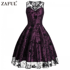 2017 summer sleeveless mesh o neck purple vestido de festa robe femme elegant party dress purple m