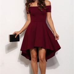 2017 Women Off Shoulder Party Dresses Burgundy&Blue Casual Elegant Vintage Midi Dress Vestidos wine  red m