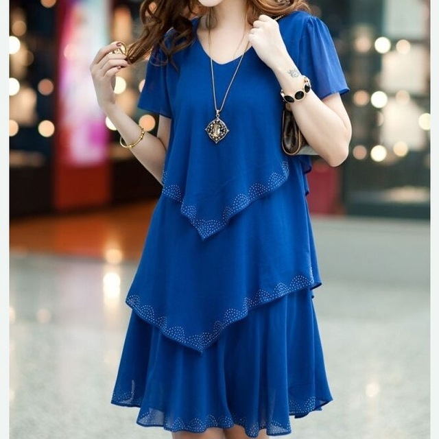 2017 Summer Dress Blue Party Dresses Women Dress Chiffon Robe Sexy Vestido De Festa Women Clothing blue xl