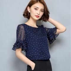 Women Short Sleeve Ciffon Blouse Fashion Casual Shirts Loose Tops Polka Dot O-Neck Chiffon Shirt dark blue s