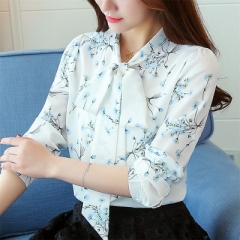 Fashion Spring Print Bow Collar Women's Long Sleeve Office Lady Tops Elegant Chiffon Blusas Shirts white 2xl