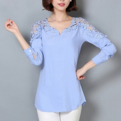2017 Long Sleeve Blouse Shirt Women V-Neck Floral Lace Sexy Casual Linen Shirts Plus Size Lady Shirt blue s