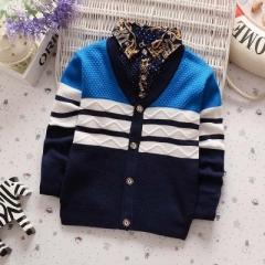 Casual boys open stitch sweater kids autumn winter wear underwear children cheap clothes blue 110cm