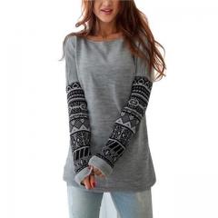 Hot O-neck Print Thick Hoodies Women Clothing Pullovers Slim Tracksuit Female Sweatshirt grey s