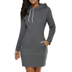 Hot Sweatshirt Long Sleeve Zip Hooded Sweatshirts Feminino Moleton Women Pullovers Hoodie dark grey xl