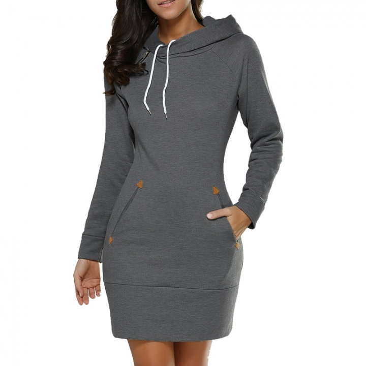 Hot Sweatshirt Long Sleeve Zip Hooded Sweatshirts Feminino Moleton Women Pullovers Hoodie dark grey l