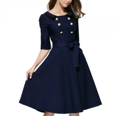 Women's clothing boutique dress double-breasted lapel full-skirted dress the waist belt dark blue s