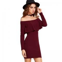 Long Sleeve Mini Dress Womens Autumn Winter Dresses Women Sexy Party Burgundy Off Shoulder Ruffle wine  red s