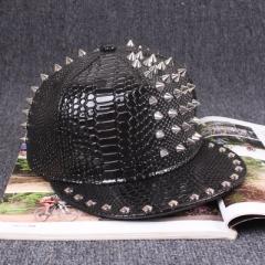Fshion Ms. male Handmade rivets Baseball Cap Flat along The Hip-hop Hat Fur Hat Snapback black