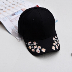 Lady Floral Baseball Caps Plum Blossom Hat Woman Black Pink White Cotton Ms Baseball Hats For Women black