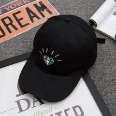 Hot summer women's luminous diamond bend along the baseball cap and the soft sun protection sun hat black