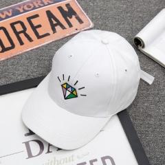 Hot summer women's luminous diamond bend along the baseball cap and the soft sun protection sun hat white