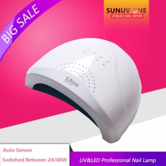 SUN 48W/24W Sensor Double White UV Light LED Lamp Nail Dryer Fast Drying For Curing Nail Gel Polish white normal