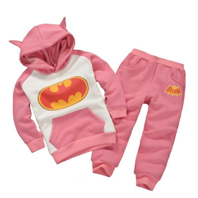 Toddler Boy Clothing Sets Winter Children Batman Hoodie+Pants Outfit Christmas Costume Kids Clothes pink 110cm