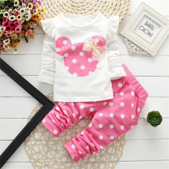 Spring girls clothing sets mouse early autumn clothes bow tops t shirt leggings pants kids suit pink 100cm