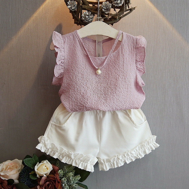 Toddler Kids Girls Tops T-shirt Short Pants Outfits Casual Clothes Sleeveless Summer Girl Costume pink 90cm
