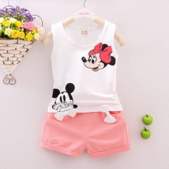 Summer Cute Cartoon  Kids Baby Girls Floral Vest Top Shorts Pants Set Clothes Girls Clothing Sets white 80cm