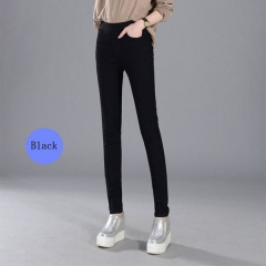 Women's Jeans  Casual Elastic Waist Stretch JeansSlim Denim Long Pencil Pants Lady Trousers black 27