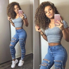 High Waist Jeans Ladies Ripped Pants Women Looks Slim Skinny Fashion Hole Jeans Stretch Pencil Denim blue s