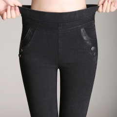Big Yards Lmitation Jeans Pants Women Elastic Waist Trousers Ladies Vintage Pencil Slim Skinny Jeans black l