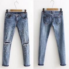 Knee Hole Ripped Jeans Women Stretch Denim Pencil Pants Casual Slim Fit Rivet Pearl Jeans blue 26