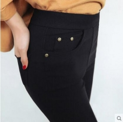 New  Pencil Jeans Woman Candy Colored Mid Waist Full Length Zipper Slim Fit Skinny Women Pants black m