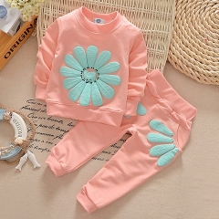 Fashion New 2pcs spring autumn children clothing set baby girls sports suit sunflower casual costume pink 90cm