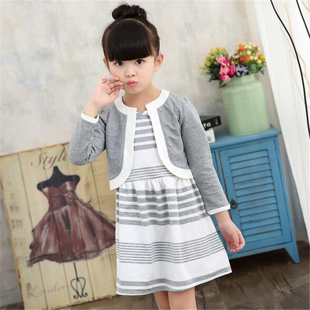Children Clothing Sets Kids Striped Sleeveless Dress + Long Sleeve Coat 2pcs Girls Clothes Suits grey 110cm