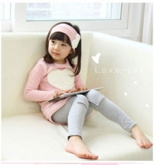 3PCS LOVE SET  Children's Clothing Set Girls Clothes Suits Pink Red Long sleeve cute suit pink 140cm