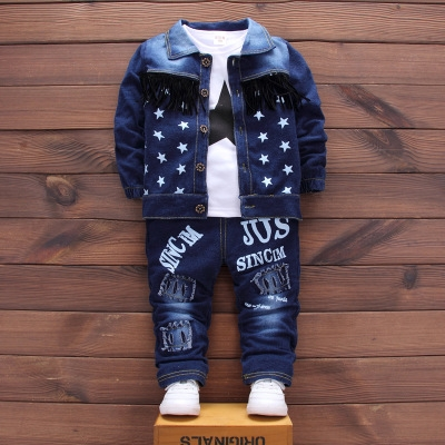 Toddler Sport Clothes Suit  Cotton Boy Clothes Denim Jeans Coat T-shirt Pants 3PCS Star Tracksuit dark blue 100cm