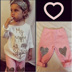 Heart Pattern Toddler Girls Clothing Sets Baby Kids Heart Shirt Dress+Leggings Kids girl Outfit white 1t