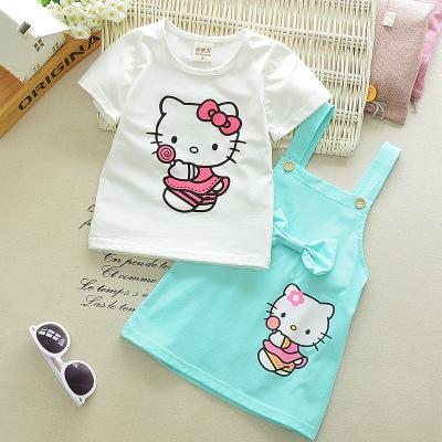Cartoon Cat Lovely Princess Kids Dresses for Girls Summer Toddler Girls Clothing Sets Kids Clothes sky blue 70cm