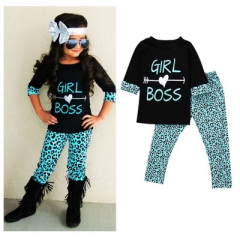 Toddler Kids Girls Half Sleeve Letter Printed T-shirt Tops+Green Leopard Pants Outfits Clothes Set black 80cm