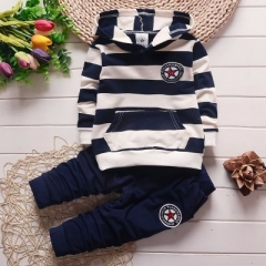 Boys Clothing Sets Long sleeve Striped hoodies baby kids suits 2 pcs clothing sets children clothes navy 110cm
