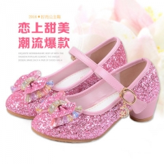 Hot Girls Shoes Lovely Diamond Bow Children Sandals High Quality Princess Kids Shoes Children Shoes pink 26
