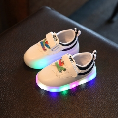 Casual Kids Shoes With Light Led White Children Shoes Leather Luminous Glowing Sneakers Shoes black 21